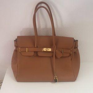 Handbags - Designer style cognac pebbled leather bag satchel